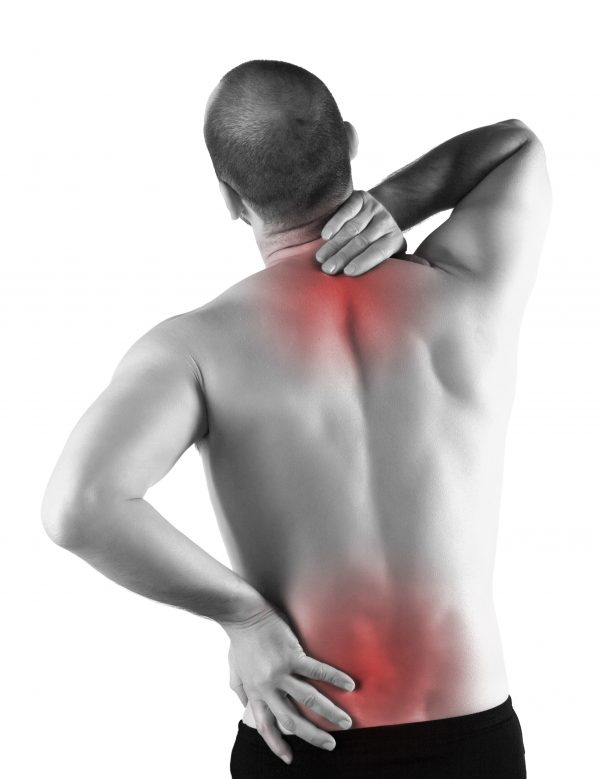 Man with back pain due to herniated disc
