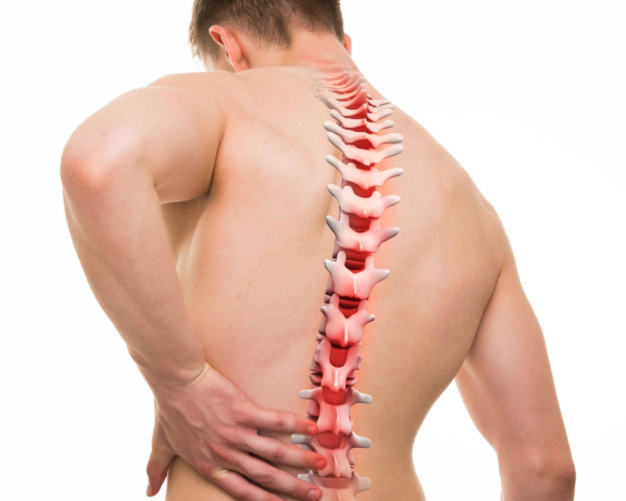 Male holding his lower back. Spine illuminated to indicate pain.