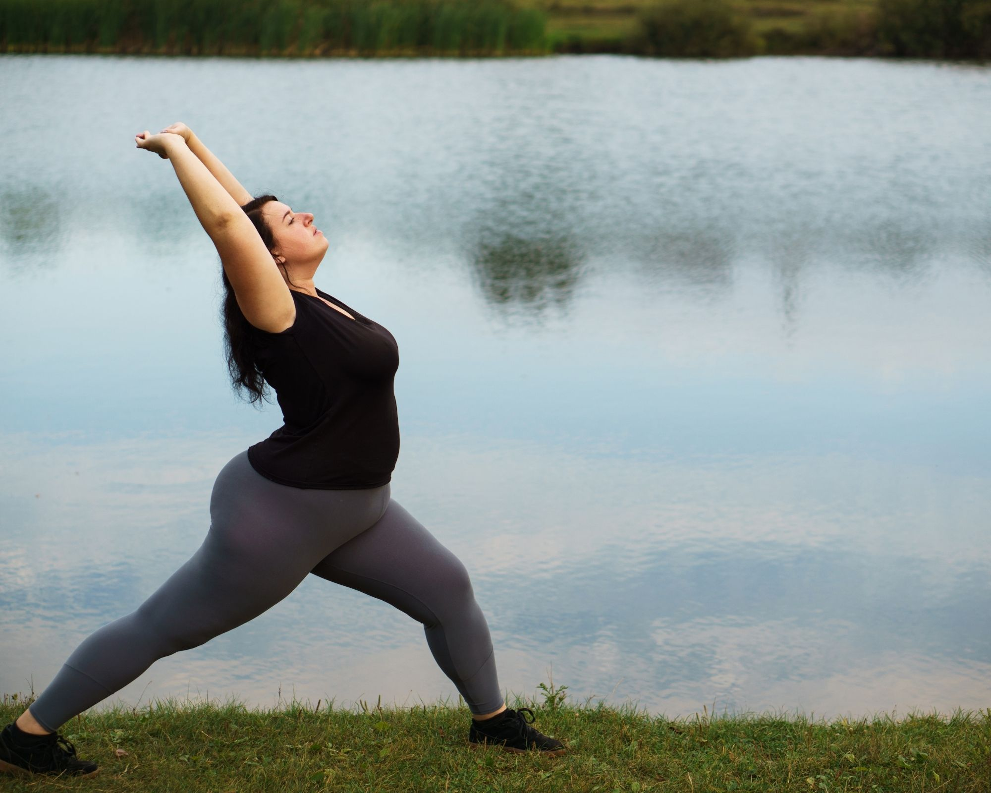 Woman doing yoga pose to lose weight