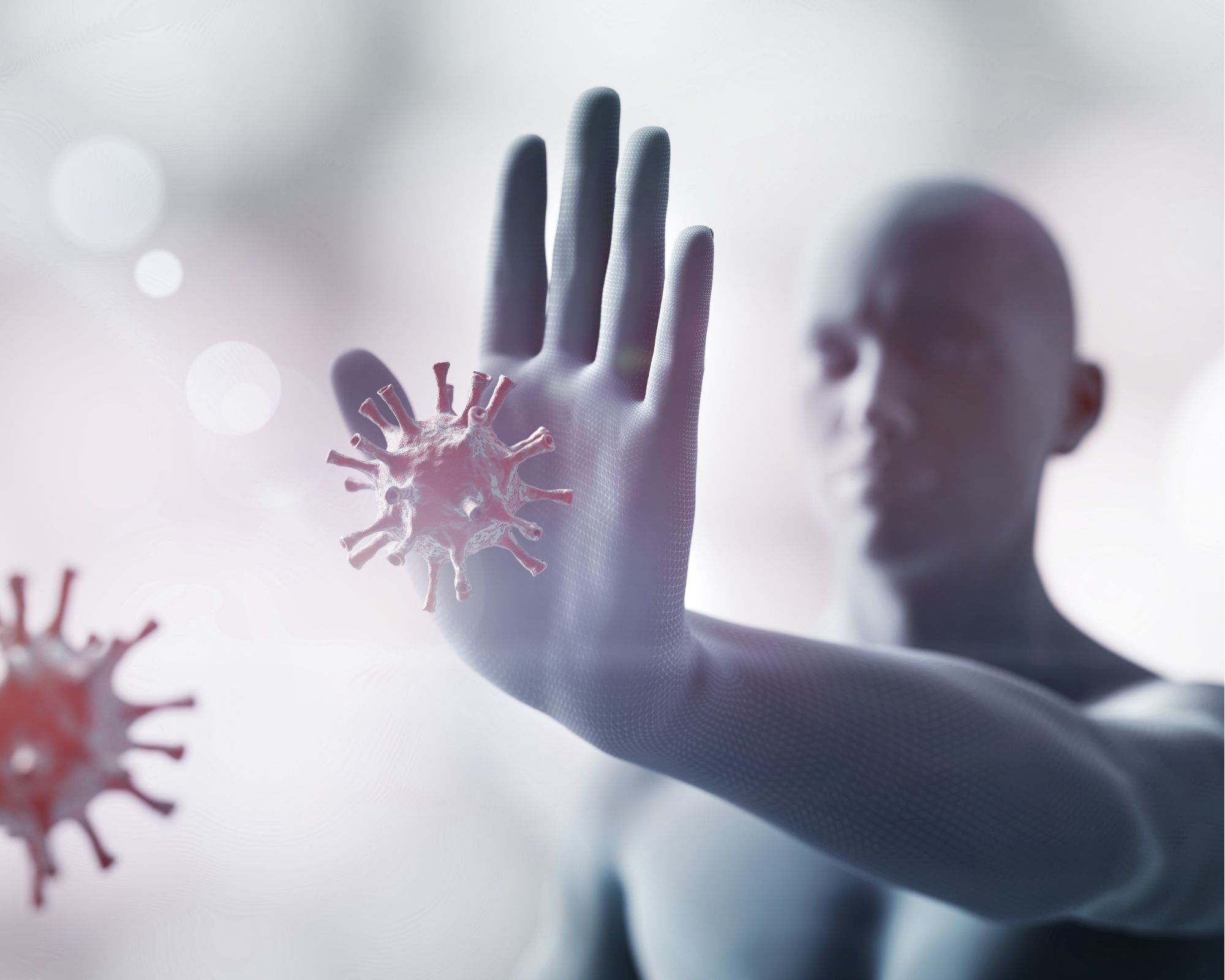 Person shaped figure holding out his hand to stop germs - Indicating a Healthy Immune System