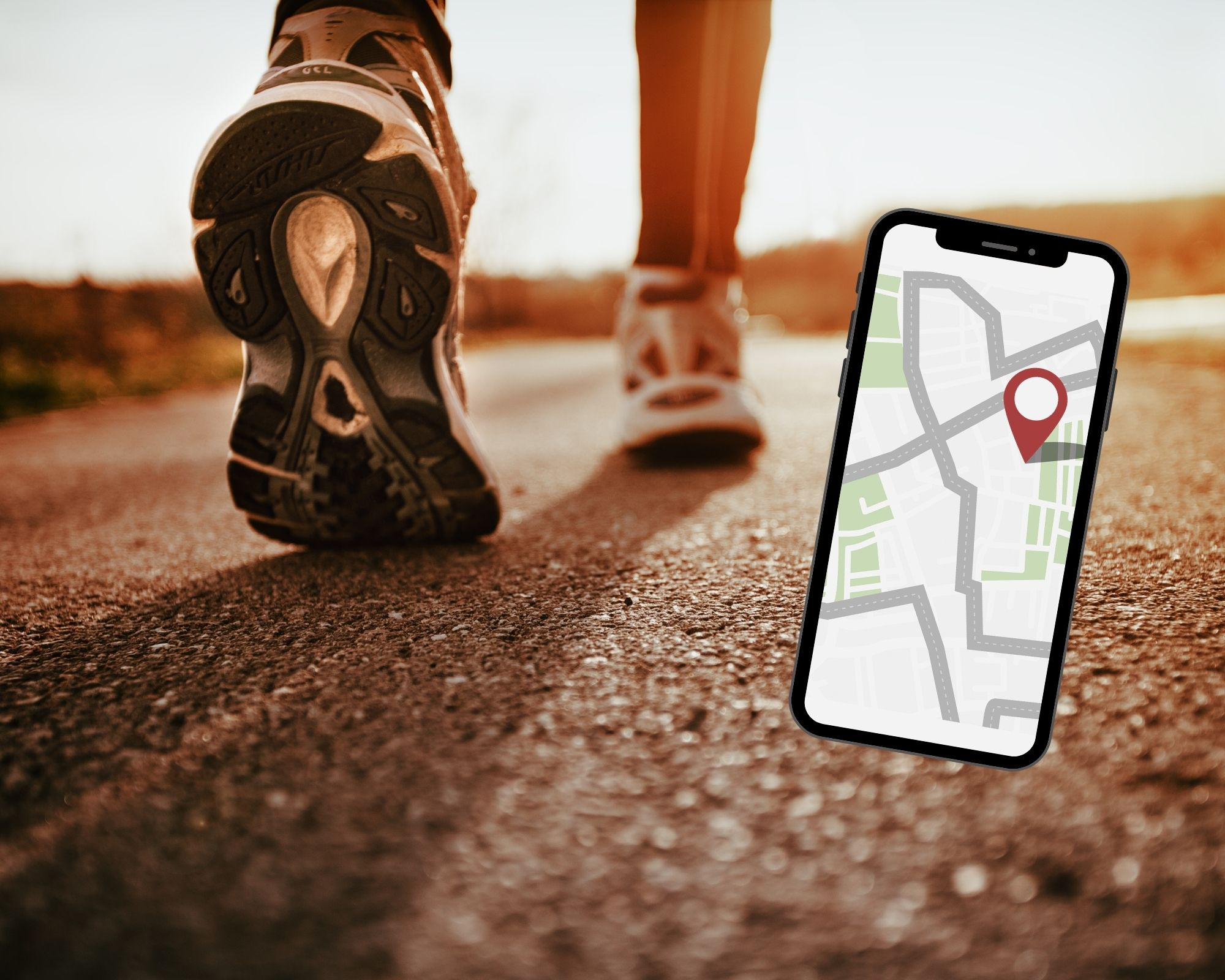 Feet running on pavement - cell phone with a map on it