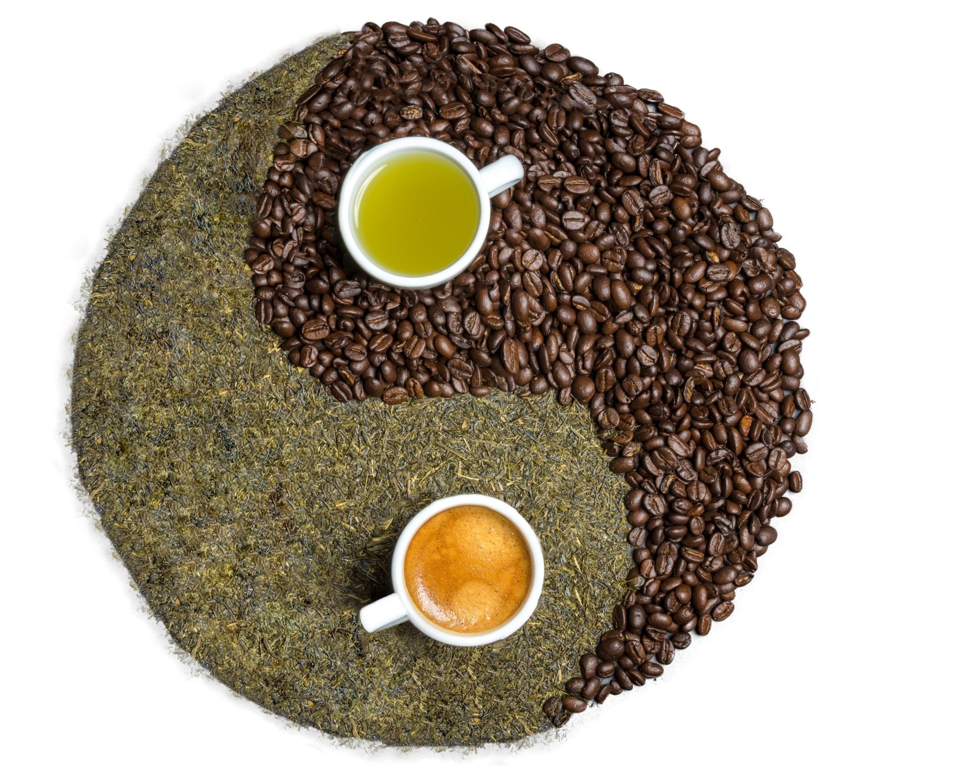 Coffee beans and tea leaves made into the Ying and Yang sign.