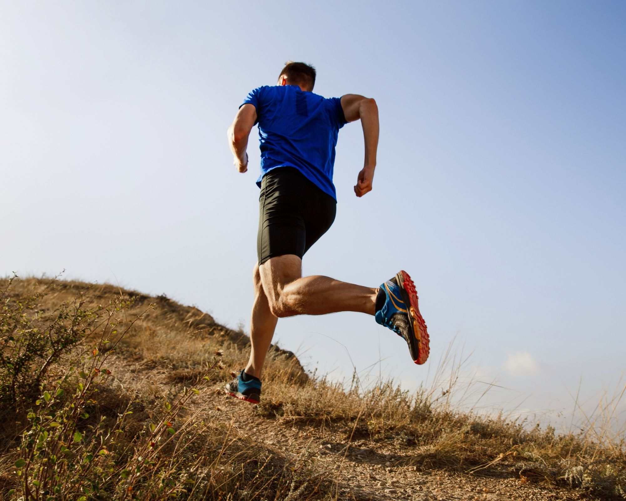 Man running up a hill - Curcumin helped his joints