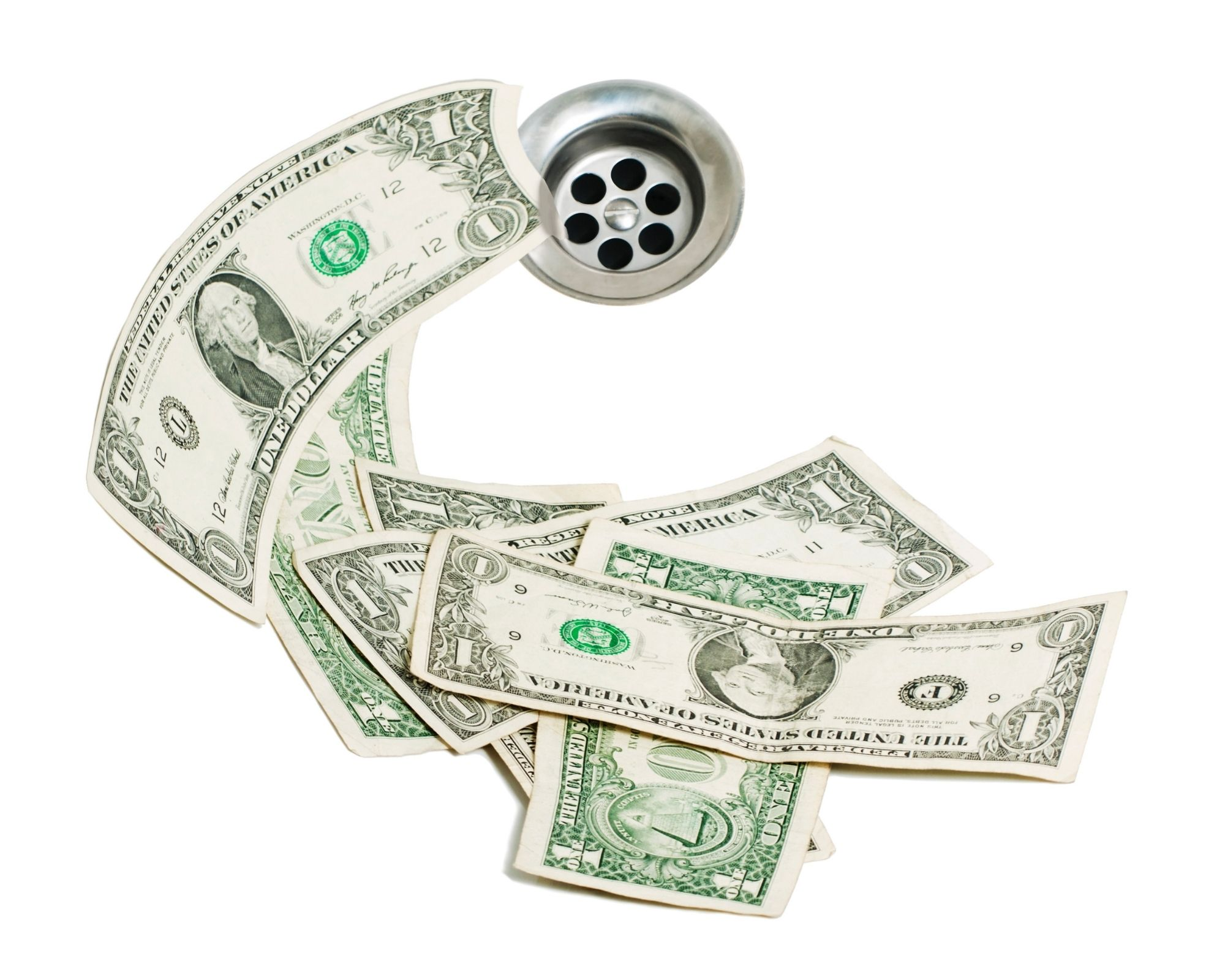 Money in a bathtub by the drain - indicating finding the right supplements can save you money. Including Boron