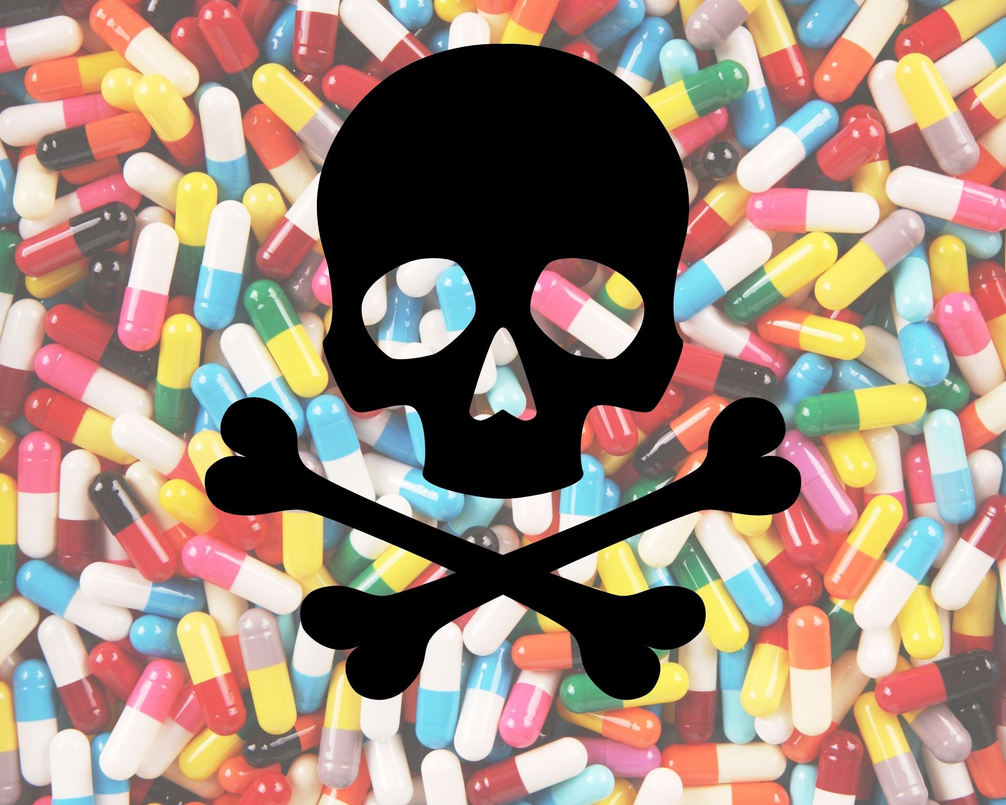 A bunch of prescription pills laid out and skull and cross bones over the top