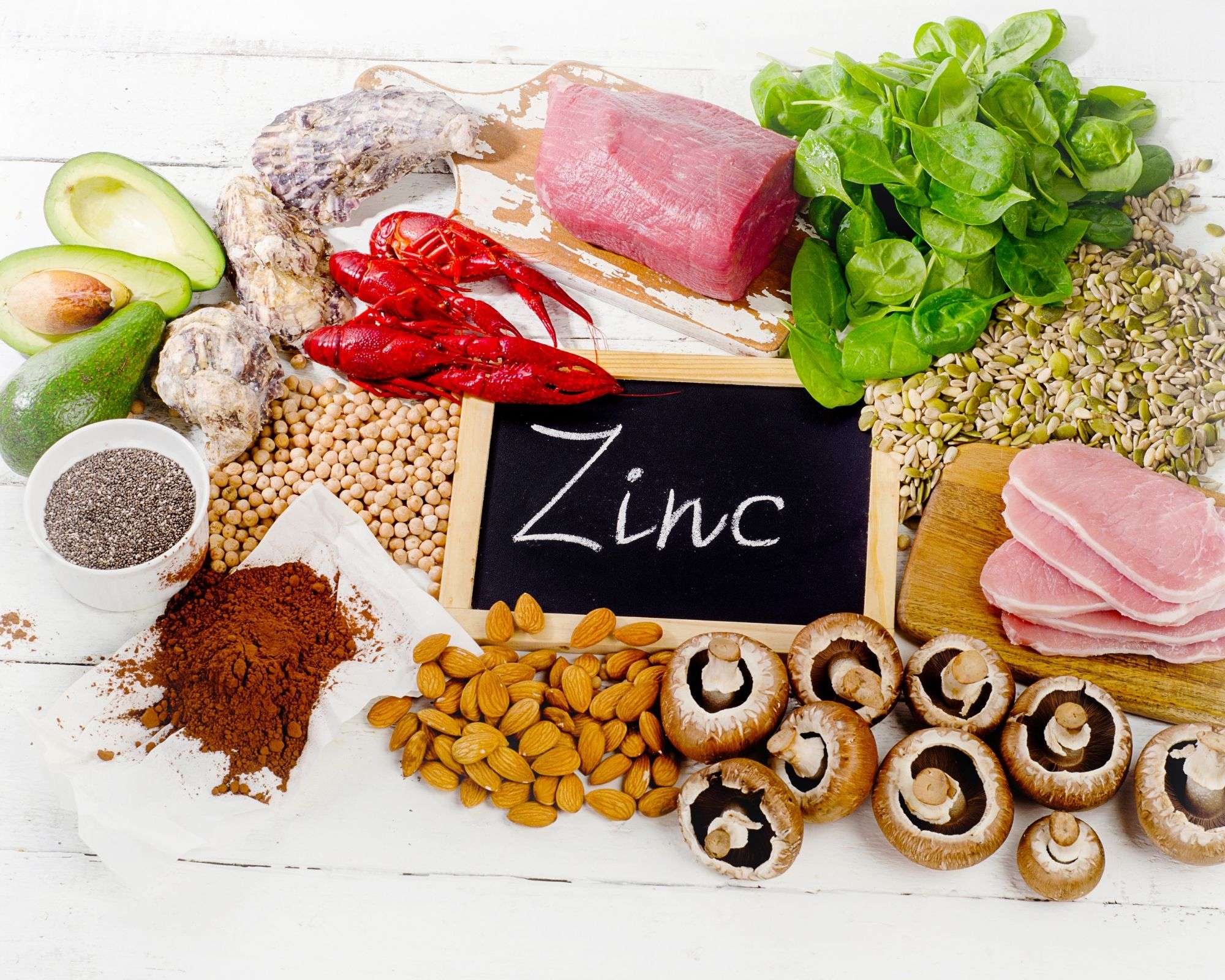 Picture showing foods that contain zinc.
